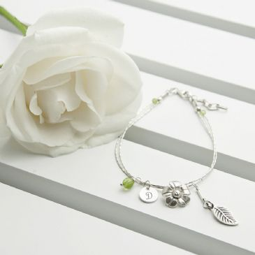 Personalised ForgetMeNot Friendship Braclet & Peridot